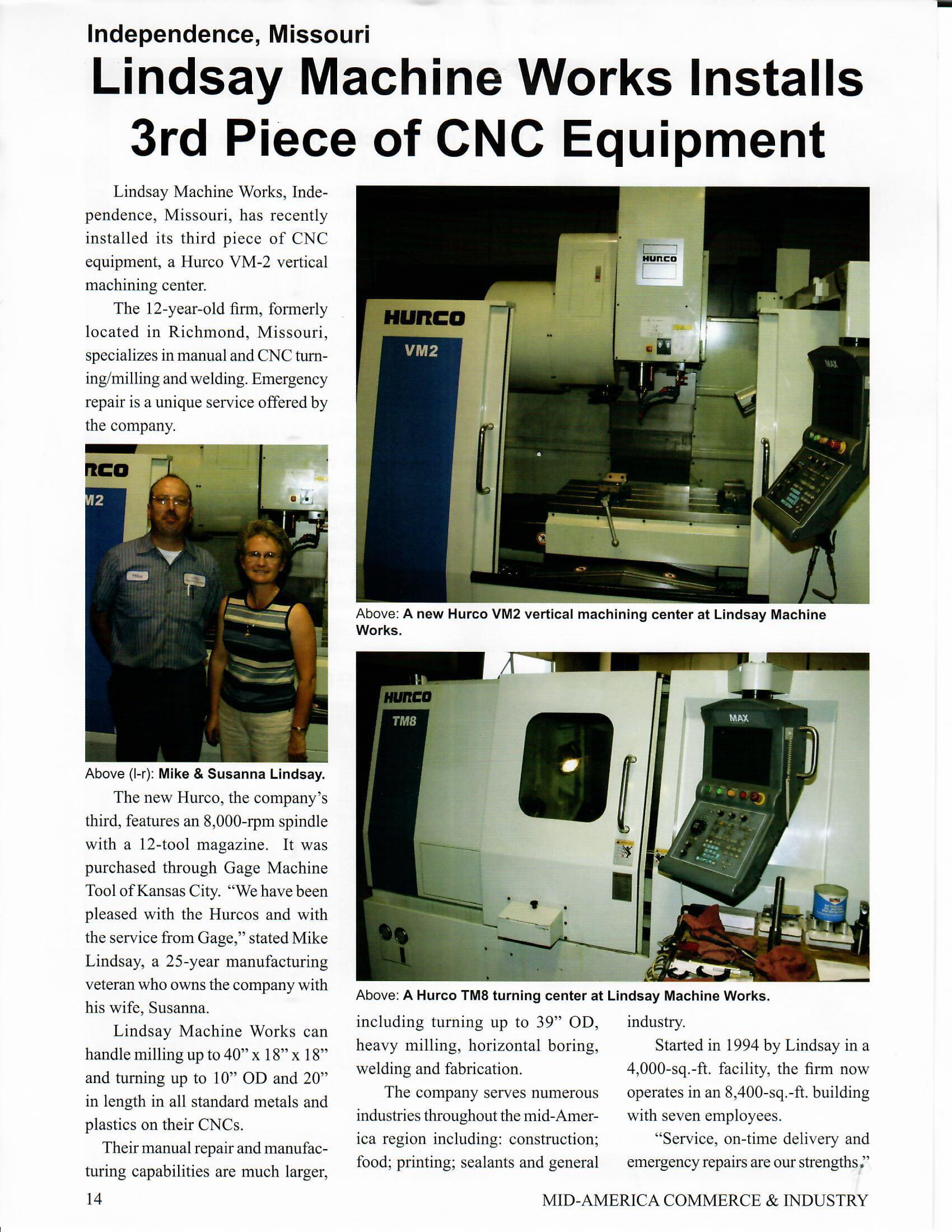 Lindsay Machine Works Press - Videos